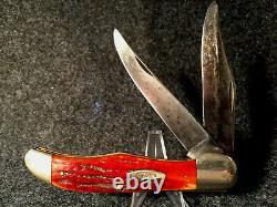 1940-64 CASE XX 6265 FOLDING HUNTER 2nd Cut RedBone Folding Knife WORM GROOVES
