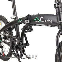 20in Folding Leisure Bike 7 Speed Bicycle High Carbon Steel Adult Bikes Non-slip