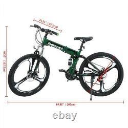 21 Speed 26 inch Full Suspension Folding Mountain Bike Bicycle Green MTB Bikes