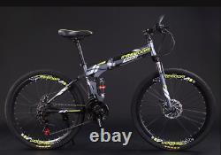 26 Folding Mountain Bike 21 Speed Full Suspension Bicycle Carbon Steel MTB