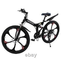 26 Folding Mountain Bike 21 Speed Full Suspension Bicycle Carbon Steel MTB NEW