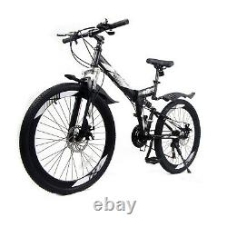 26Full Suspension Mountain Bike Folding 21 Speed Carbon Steel Bicycle MTB