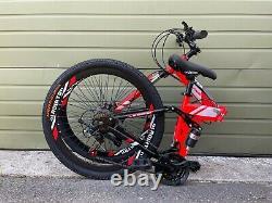 26Full Suspension Mountain Bike Folding 21 Speed Carbon Steel Men's Bicycle MTB