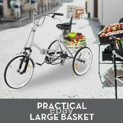 Adult Folding Bike Tricycle 20 3-Wheel 7-Speed Trike Cyan withBasket + Safe Brake
