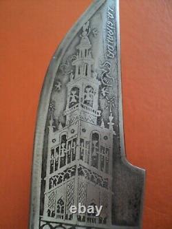 Antique beautiful spanish folding knife giralda sevilla acid etched blade stag