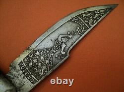 Antique spanish navaja luxe folding knife blade acid engraved both sides horn