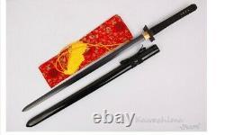 Black Straight Modern Double Edged Two Handed Ninja Katana Folded Steel Sword