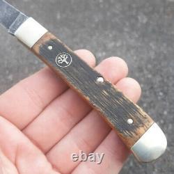Boker Schloss Burg Trapper Folding Knife O1 Steel Blade Oak/Wood Handle BO113004