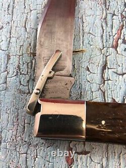 C. 1920s Low Excellent KA-BAR Bone Folding Lock Guard Patent 1923 Dog Head