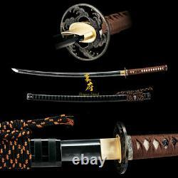 Clay Tempered Kobuse Folded Carbon Steel Katana Japanese Samurai Sword Full Tang