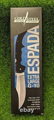 Cold Steel Large G-10 XL Espada, Plain Edge 7.5 Blade Folding Knife 62MGC