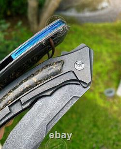 Damascus Steel Tactical Knife Folding Knife Rescue Pocket Knives Carbon Fiber
