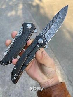 Damascus Steel Tactical Knife Folding Knife Rescue Titanium Alloy Carbon Fiber