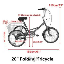 Foldable Adult Tricycle 20'' 7 Speed 3Wheel Folding Trike Bike withshipping Basket