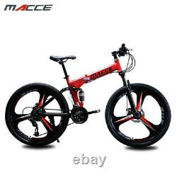 Folding 26 inch carbon steel 21 speed double disc variable speed mountain bike