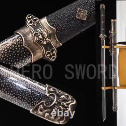 Handmade Damascus Folded Steel Tang Dao Black Genuine Ray Skin Chinese Sword