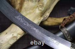 Handmade Mongolian Sharp Folded 60HRC Carbon Steel Sword Cavalry Sabre Full Tang