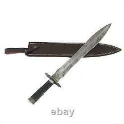 High Carbon Damascus folded Steel Viking Sword Full Tang Handmade Razor Sharp HC