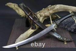 High Quality Mongolian Sabre Sharp HRC60 Folded Steel Sword Cavalry Ebony Sheath