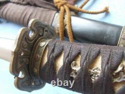 Japan Military Officer's Sword Samurai Katana Folded Steel Blade Wood SheathJ026