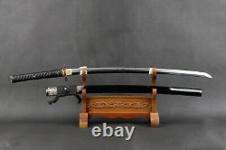 Japanese Samurai Katana Sword Clay Tempered Folded Steel Blade Brass Fittings