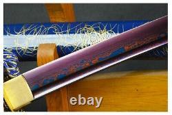 Modern Futuristic Blue Dragon Folded Steel Battle Ready Samurai Katana Sword