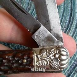 Rare Vintage Antique German Bone Stag Locking Folding Dirk Jack Pocket Knife