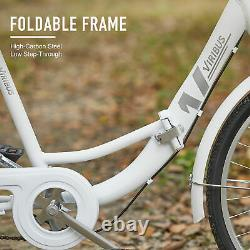 Secondhand 20 Adult Tricycle Folding Trike w Carbon Steel Frame&Basket, White