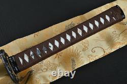Sharp Damascus Folded Steel Katana Handmade Japanese Samurai Sword Leather Saya