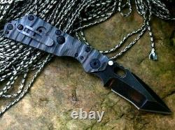 Tanto Folding Knife Pocket Hunting Survival Tactical D2 Steel Titanium Handle 4