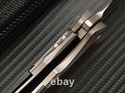 TwoSun Flipper Folding Knife S90V Steel Blade Carbon Fiber + Titanium Handle
