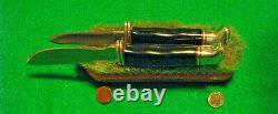 VTG HUNT BUCK 1 LINE BLADE DBLE Sheath#117 TROPHY SET 2 Knifes & fold case case