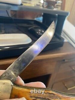 Vintage Kbar Stag Handle Folding Hunter