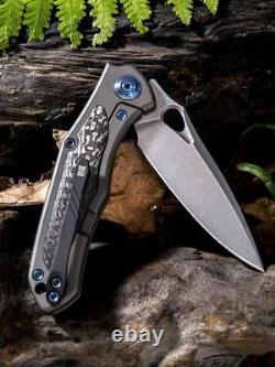 WE KNIFE CO Vapor Gray Titanium Carbon Fiber Stonewash Blade Folding Knife 804D