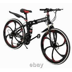 26 Vélo De Montagne Pliant 21 Vitesse Full Suspension Bicycle Carbon Steel Mtb Nouveau
