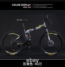 26 Vélo De Montagne Pliant 21 Vitesse Full Suspension Bicycle Carbon Steel Vtt
