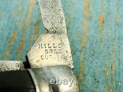 Antique Miller Bros & Co USA Ebony Folding Coke Bottle Pocket Knives Outils