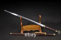 Artisanat Chinois Wushu Sword Sharp Plié Acier Damas Kungfu Tang Taichi Jian