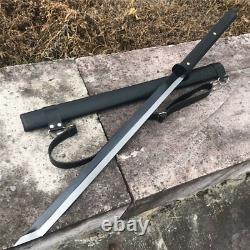 Black Folded Steel Japanese Samurai Sword Katana Full Tang Handmade Blade Sharp