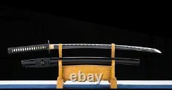 Black Polded 1045-carbon Steel Japonais Samurai Sword Katana Full Tang Fait À La Main
