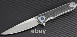Couteau Pliant Artisan Couvert Requin 4 S35vn Lame Gris Titanium / Fibre De Carbone