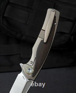Couteau Pliant Bestech Predator 3.5 S35vn Lame En Acier Titanium/carbon F Poignée