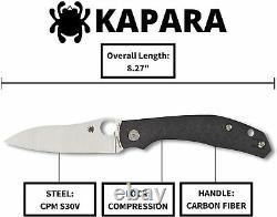 Couteau Pliant Spyderco Kapara 3.5 Cpm S30v Lame En Acier Poignée En Fibre De Carbone