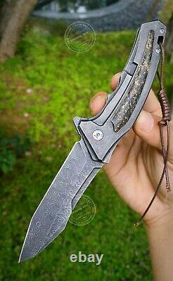 Couteau Tactique En Acier De Damas Couteau Pliant Couteau De Sauvetage Couteaux De Poche Fibre De Carbone