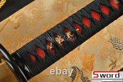 Damas Polded Steel Japonais Samurai Katana Sword Bloody Red Blade Dragon Saya