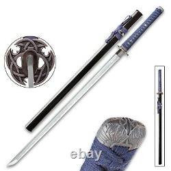 Damascus Steel Ninja Sword Blue Katana High Carbon Folded Ronin Battle Ready Hc