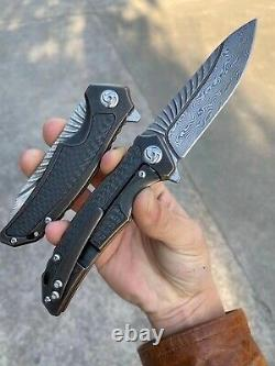 Damascus Steel Tactical Knife Folding Knife Rescue Titanium Alloy Fibre De Carbone