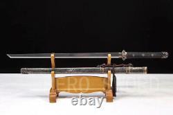 Fabriqué À La Main Damas Acier Plié Tang Dao Noir Véritable Ray Skin Chinese Sword