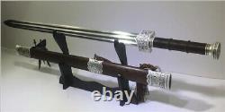 Fait À La Main! Épée Chinoise Han Dynasty Jian Blackwood Scabbrard Lame D'acier Pliée