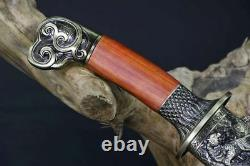 Handmade Chinois Wushu Short Sword Sharp Folded 1060 Carbon Steel Kung Fu Dao